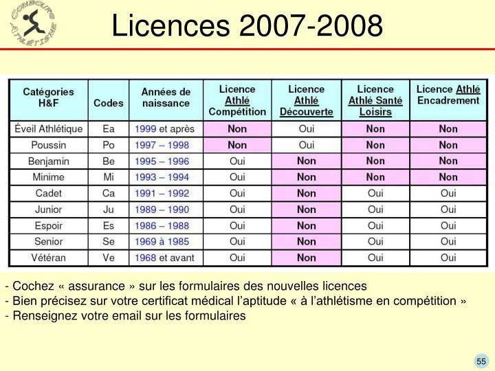 Licences 2007-2008