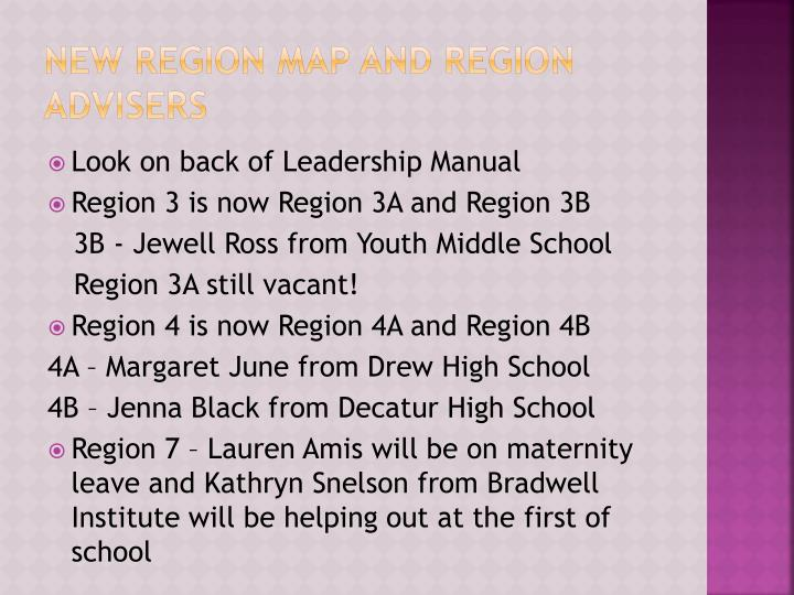 New Region Map and Region Advisers