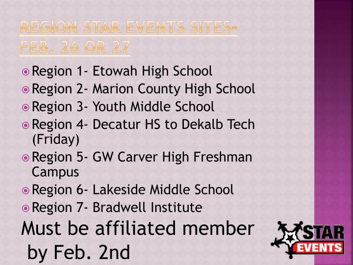Region STAR Events