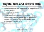 crystal size and growth rate