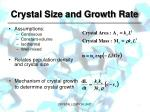 crystal size and growth rate1