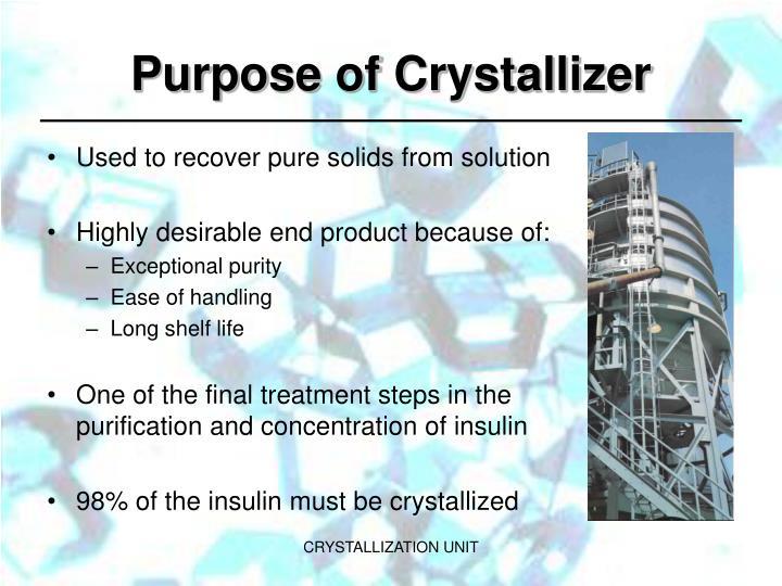 Purpose of Crystallizer