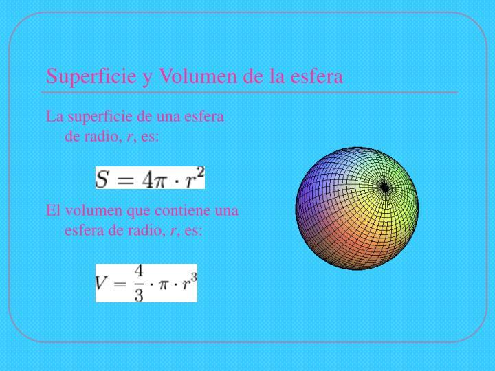 Superficie y Volumen de la esfera