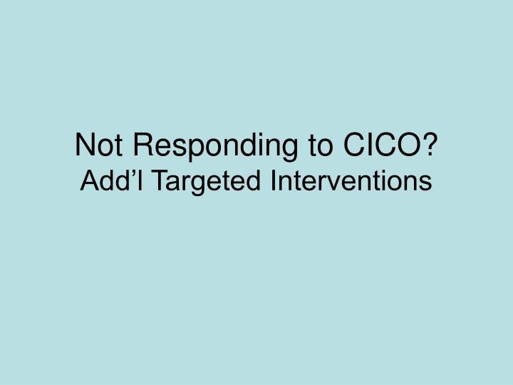 Not Responding to CICO?
