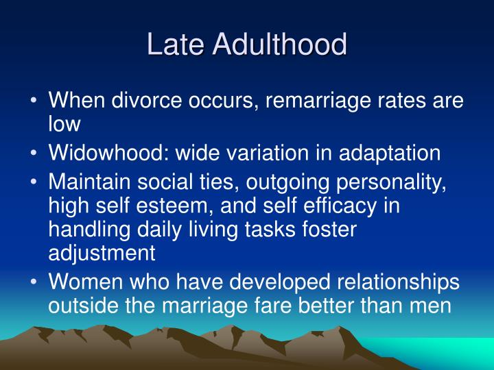 late adulthood development 0882-7974to/s500 doi: 101037//0882-7974152351 developmental paths of  psychological health from early adolescence to later adulthood constance.
