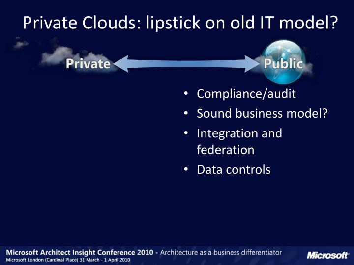 Private Clouds: lipstick on old IT model?