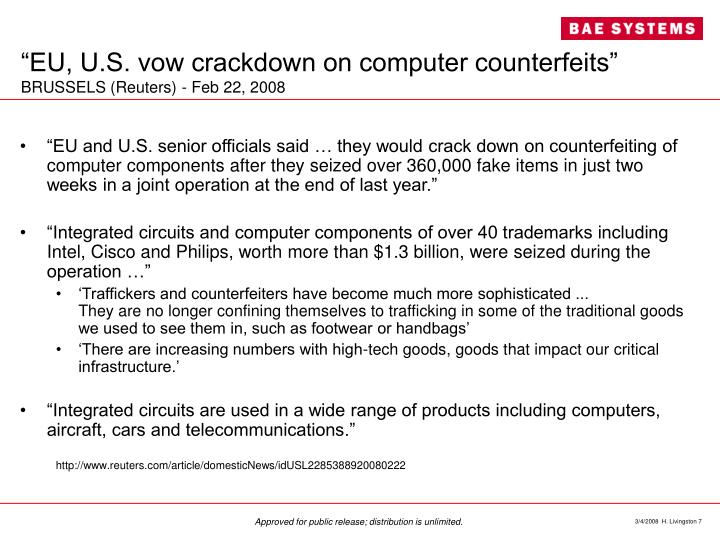 """EU, U.S. vow crackdown on computer counterfeits"""
