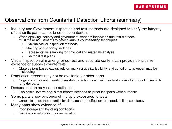 Observations from Counterfeit Detection Efforts (summary)