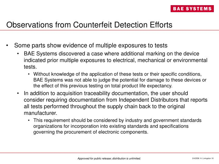 Observations from Counterfeit Detection Efforts