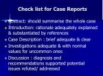 check list for case reports