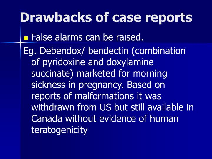 Drawbacks of case reports