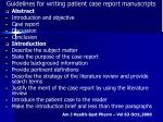 guidelines for writing patient case report manuscripts
