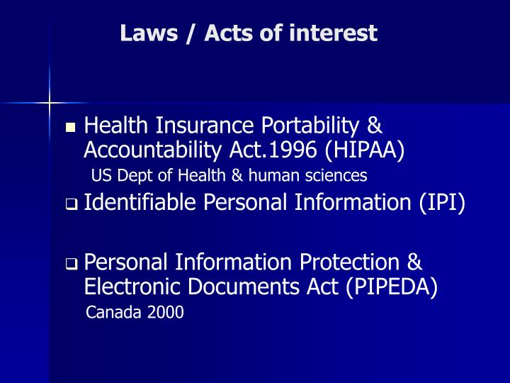 Laws / Acts of interest