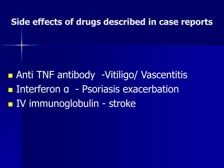 Side effects of drugs described in case reports