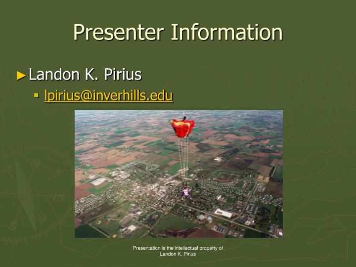Presenter Information
