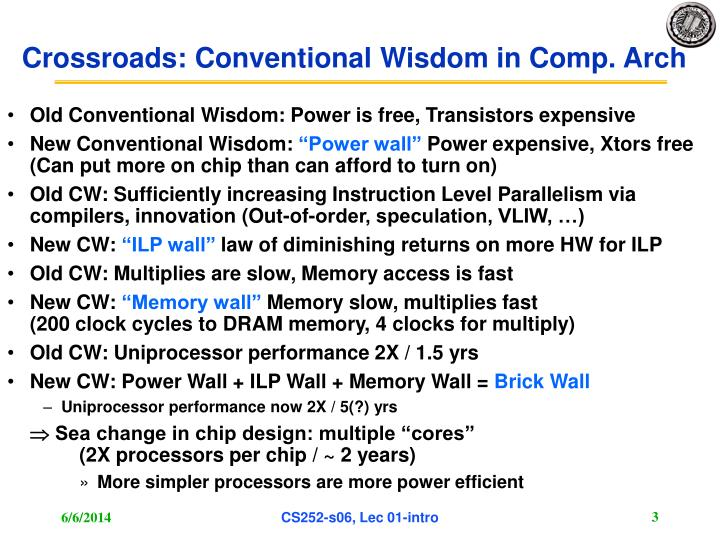 Crossroads: Conventional Wisdom in Comp. Arch