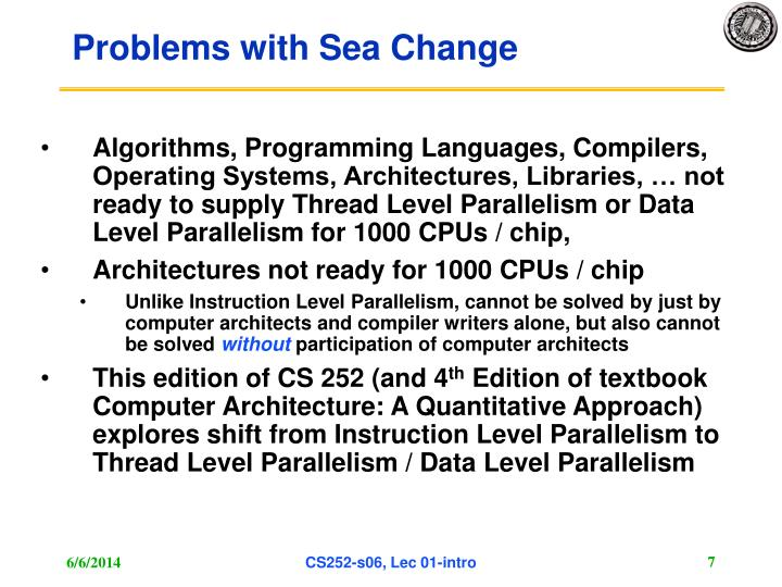 Problems with Sea Change