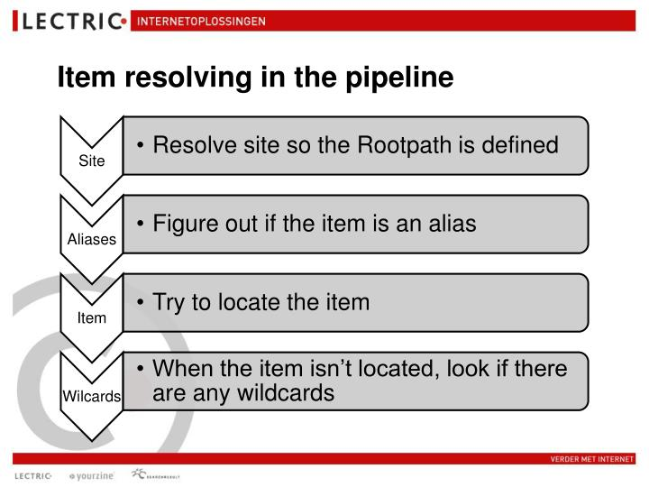 Item resolving in the pipeline