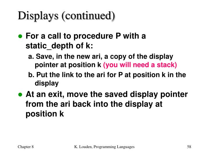 Displays (continued)