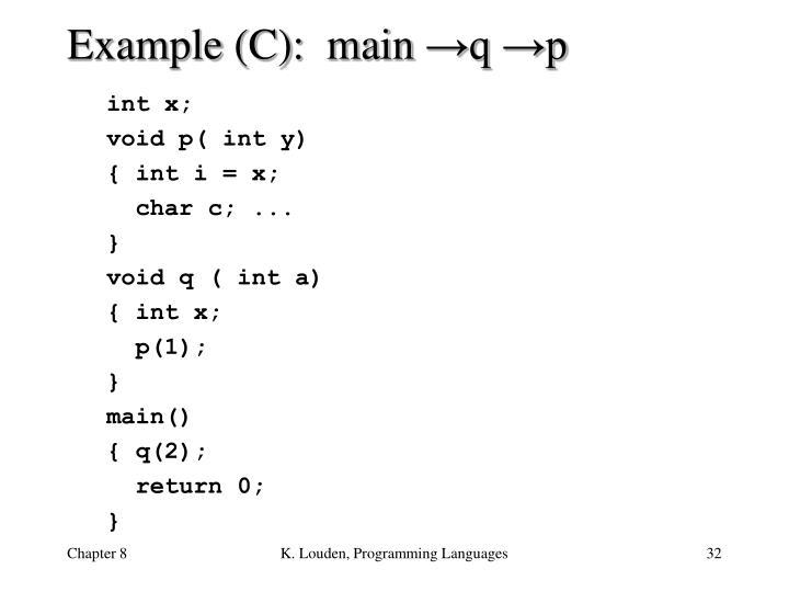 Example (C):  main