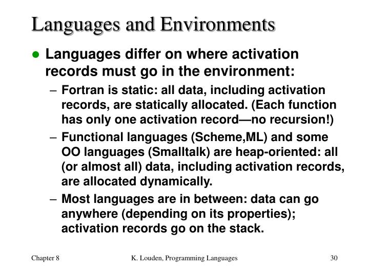Languages and Environments
