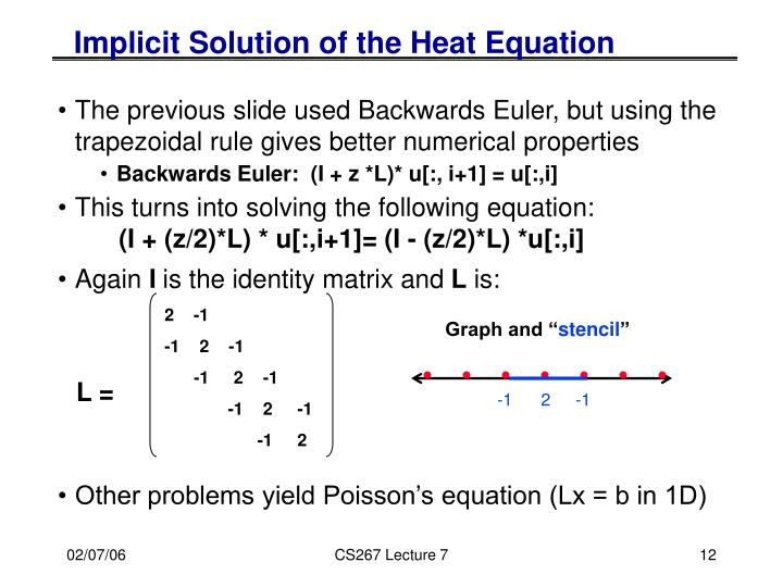 Implicit Solution of the Heat Equation