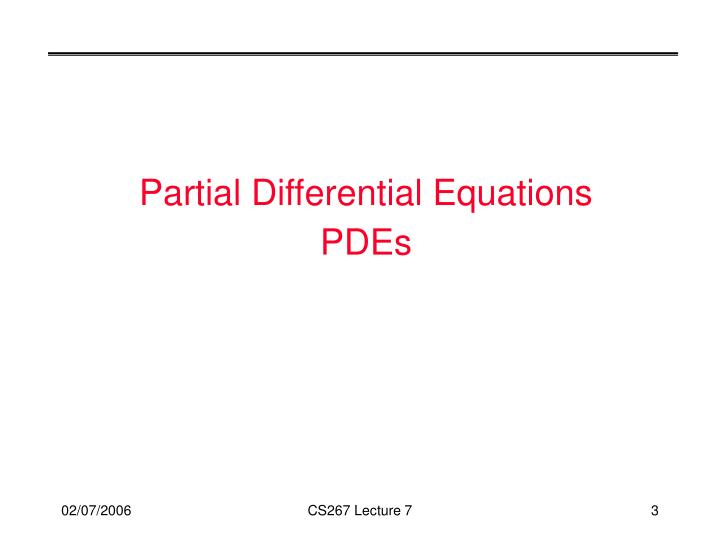 Partial differential equations pdes