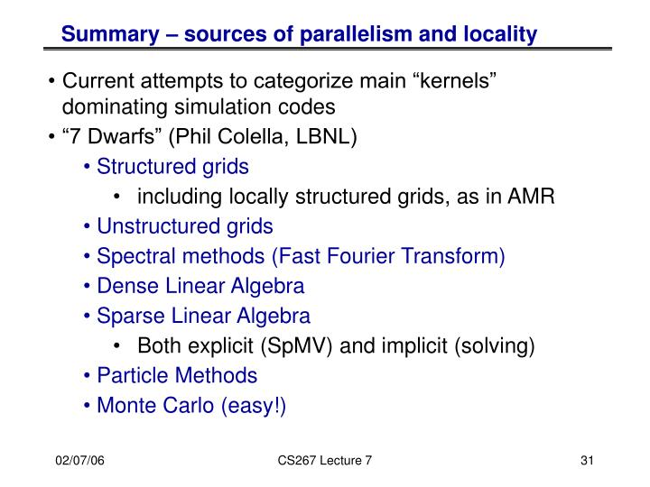 Summary – sources of parallelism and locality