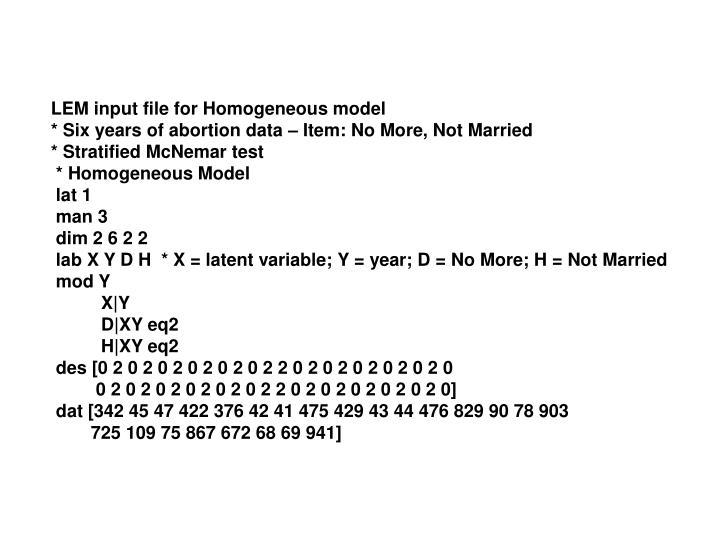 LEM input file for Homogeneous model