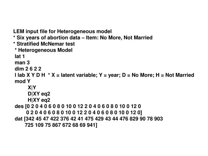 LEM input file for Heterogeneous model