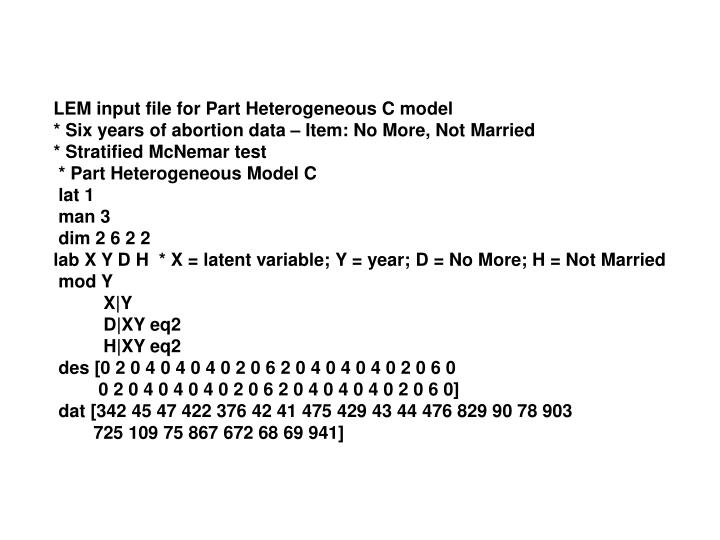 LEM input file for Part Heterogeneous C model