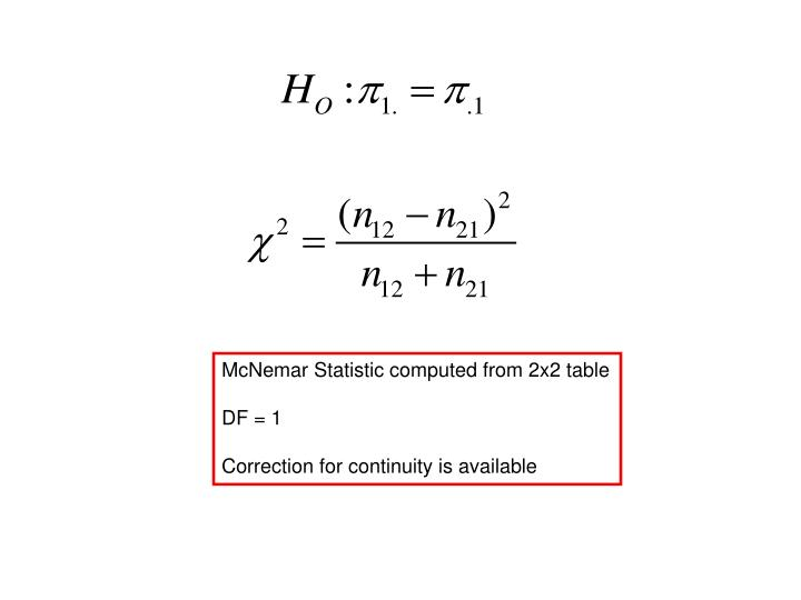 McNemar Statistic computed from 2x2 table