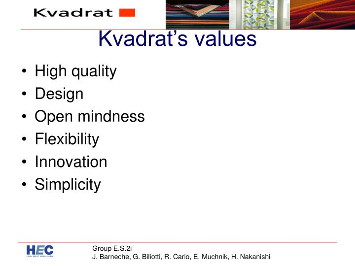 Kvadrat's values