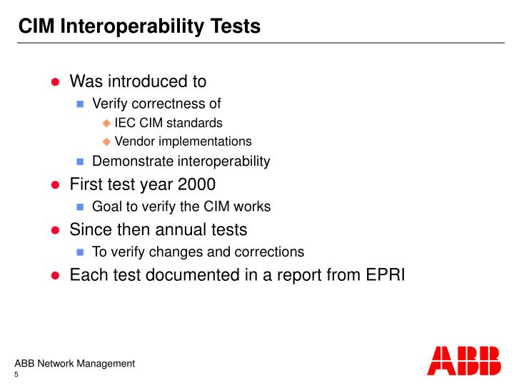 CIM Interoperability Tests
