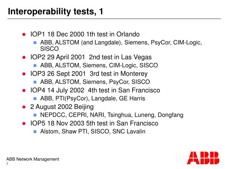 Interoperability tests, 1