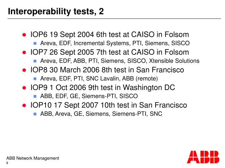 Interoperability tests, 2