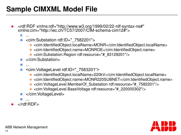 Sample CIMXML Model File