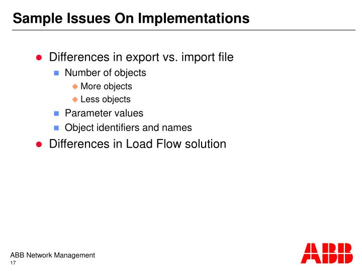 Sample Issues On Implementations