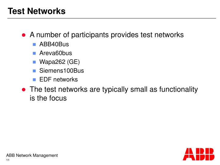 Test Networks