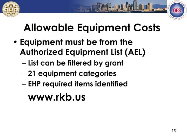Allowable Equipment Costs