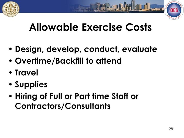Allowable Exercise Costs