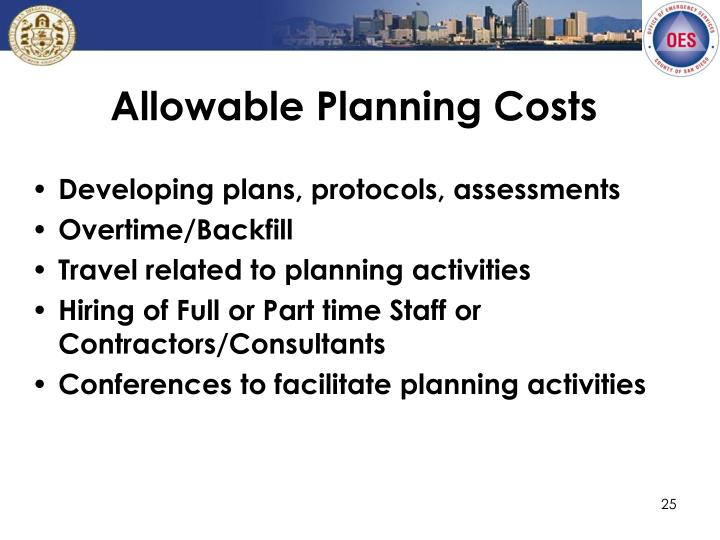 Allowable Planning Costs