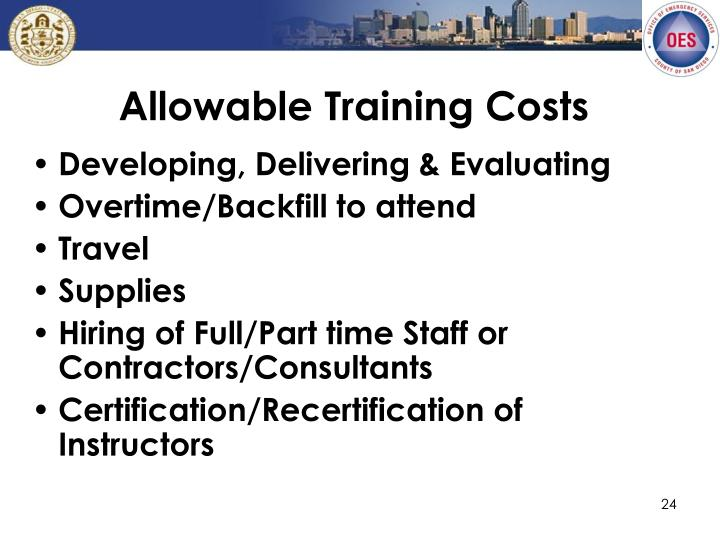 Allowable Training Costs