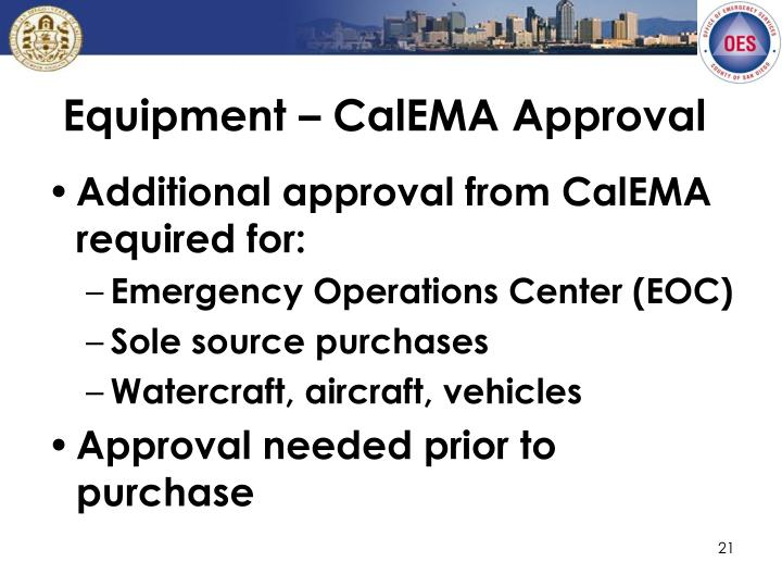Equipment – CalEMA Approval