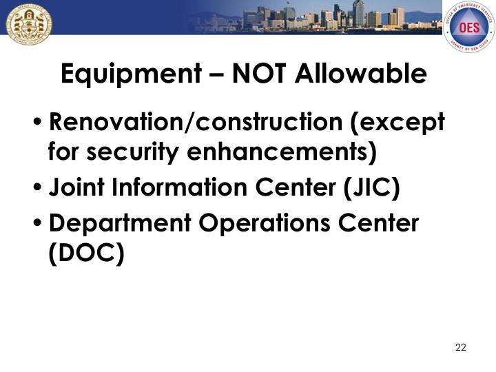 Equipment – NOT Allowable