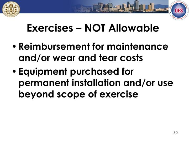 Exercises – NOT Allowable