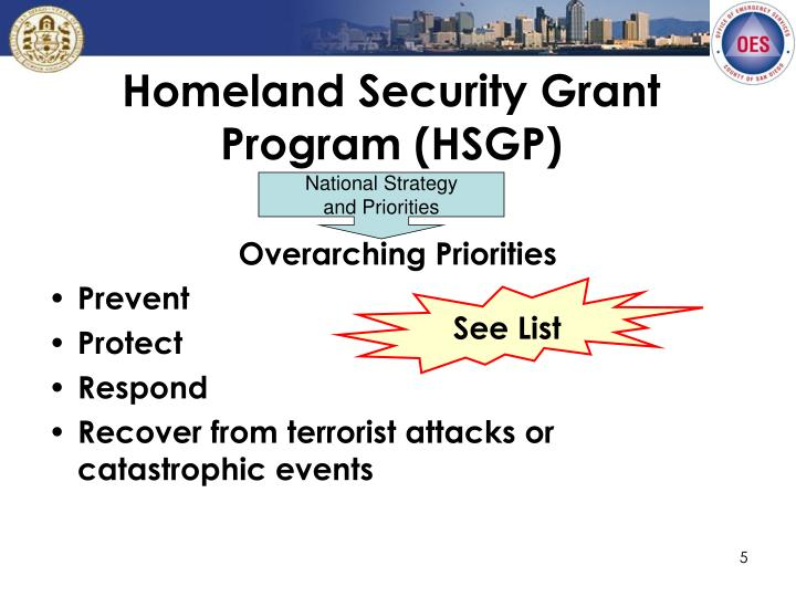 Homeland Security Grant Program (HSGP)