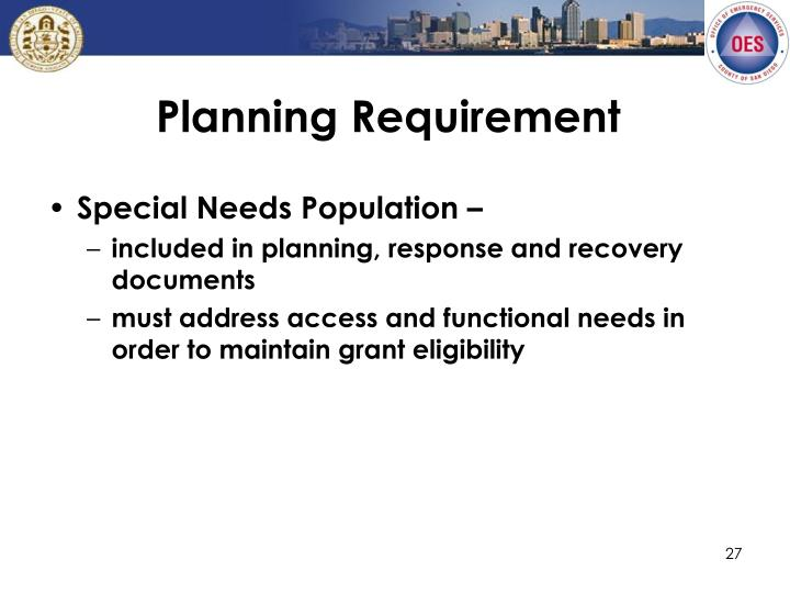 Planning Requirement