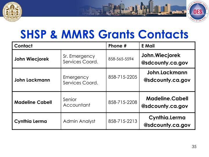 SHSP & MMRS Grants Contacts