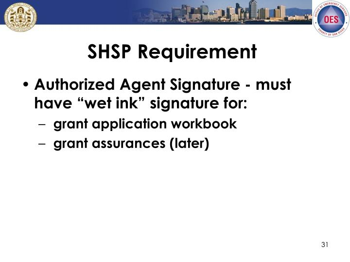 SHSP Requirement
